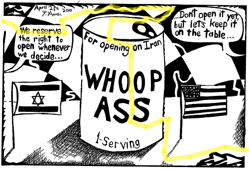 maze-solution cartoon maze of a can of whoop ass for Iranian regime