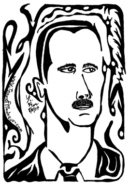 celebrity maze portrait Bashar Assad - president of syria