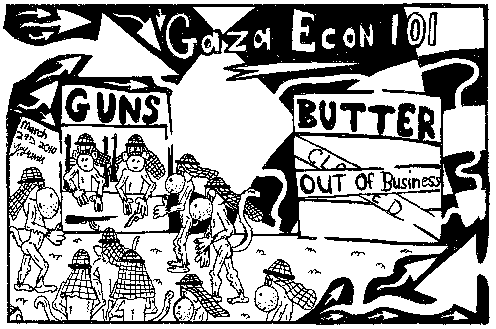Editorial  maze cartoon of gaza guns and butter