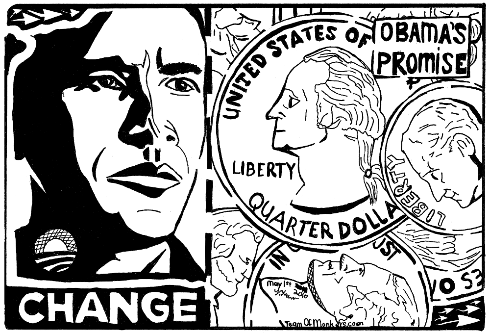 promised change lie pocket change obama change