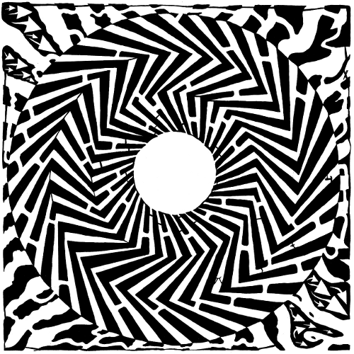 Yonatan Frimer Optical Illusion Swirly Maze psychedelic pattern