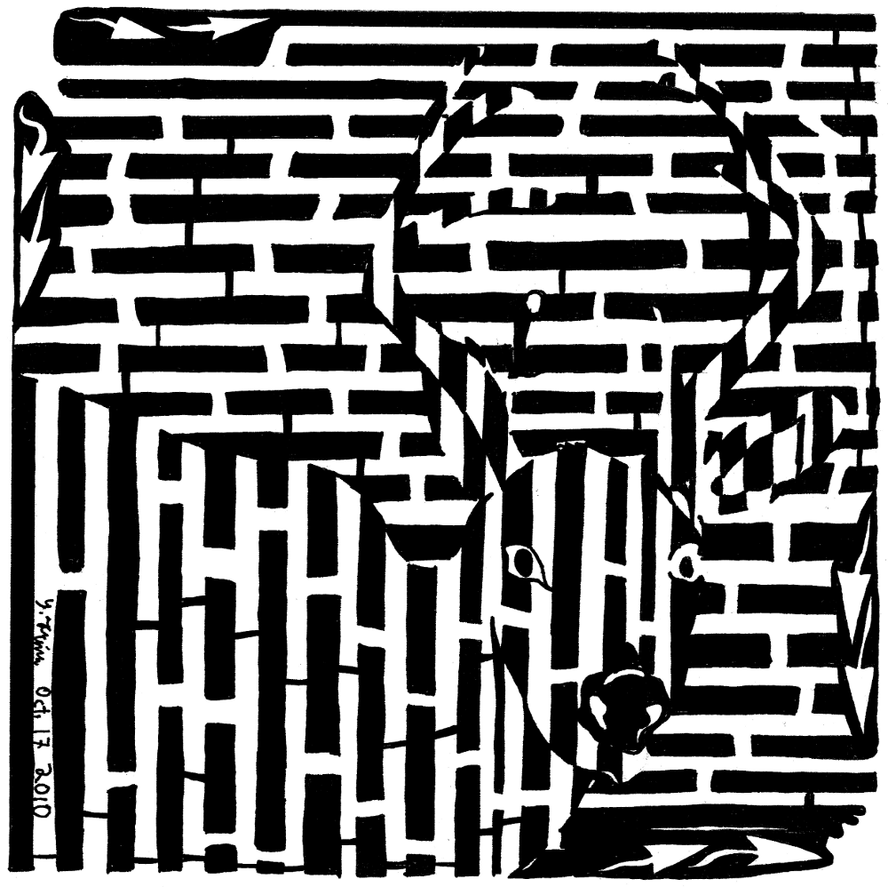 Deer in the headlights maze yonatan frimer Artist of mazes