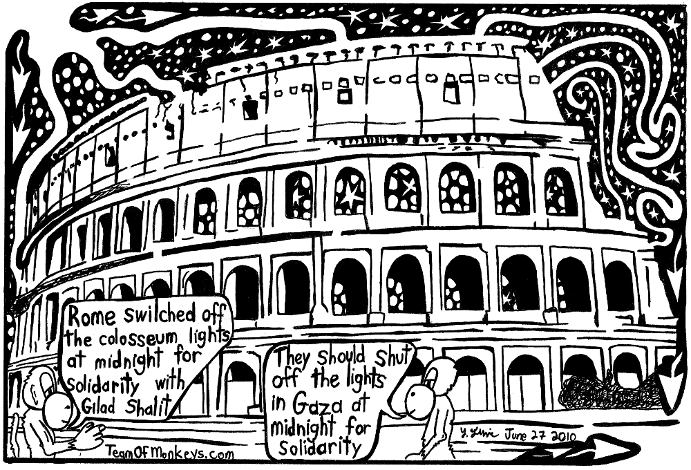 maze cartoon of midnight for gilad shalit at the colosseum