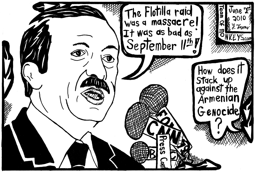 Maze cartoon of erdogan on flotilla and armenian genocide