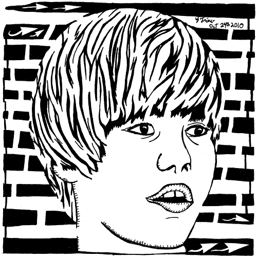 Maze portrait of Justin Bieber