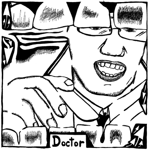 Maze art of a doctor as seen via the mouth