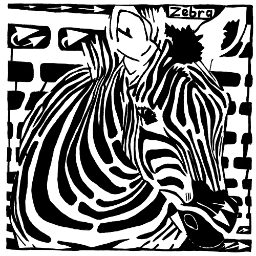 Maze of a zebra for the letter Z in the book Learn To A Maze by Yonatan Frimer