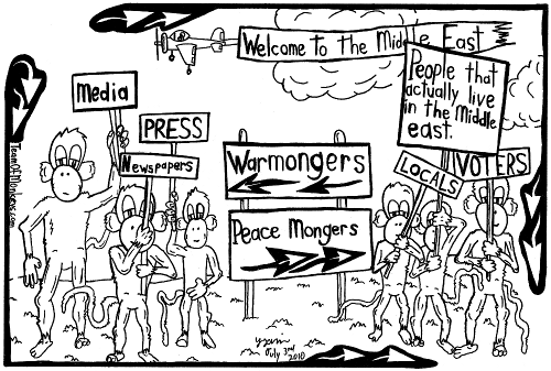 maze cartoon of peace and war mongers