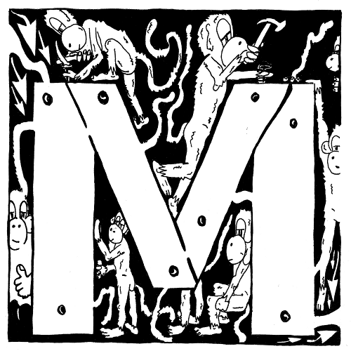 Maze art of the letter M, by Yonatan Frimer