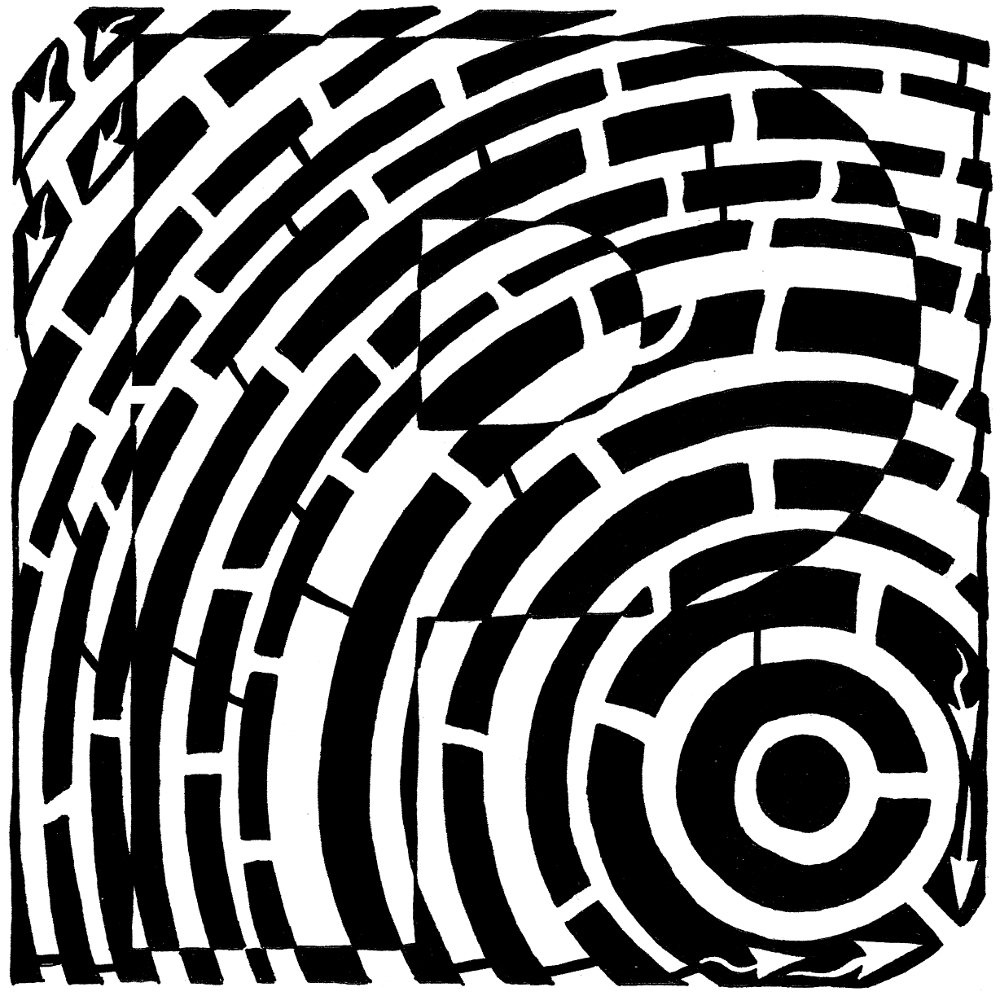 Maze of the letter P | Psychedelic maze of the 16th letter of the ...