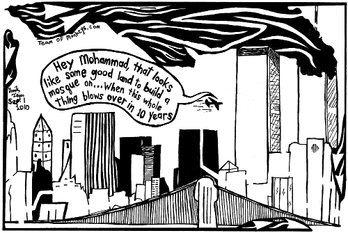 maze cartoon of september 11th attacks on Ground Zero Mosque