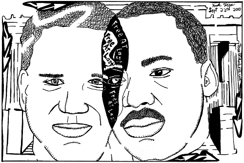 Cartoon maze of Glenn Beck and MLK in a venn diagram