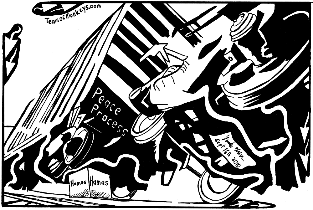 Maze cartoon of peace train getting derailed by hamas.