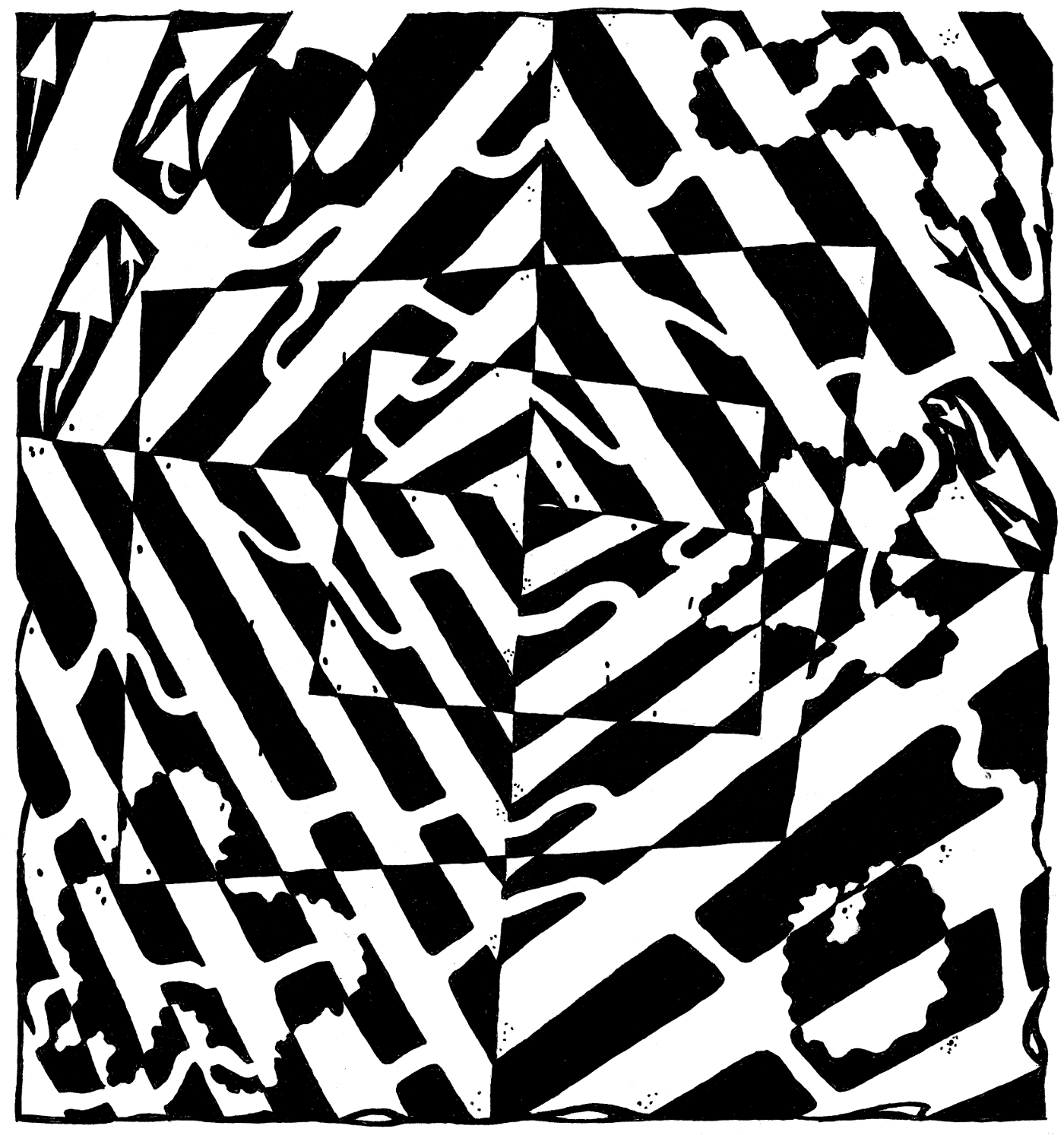 optical maze chaos illusion mazes ink frimer yonatan drawing artist blot painting illusions awesome mantra artists teamofmonkeys solution cartoons editorial