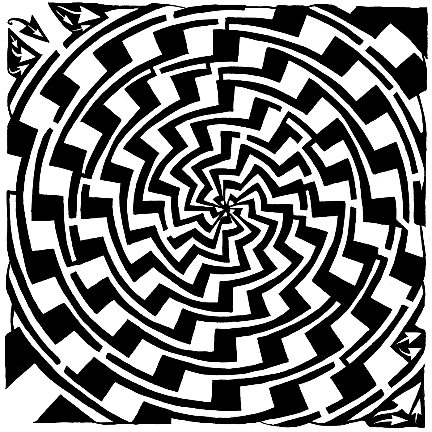 jagged swirl maze optical illusion by Yonatan Frimer