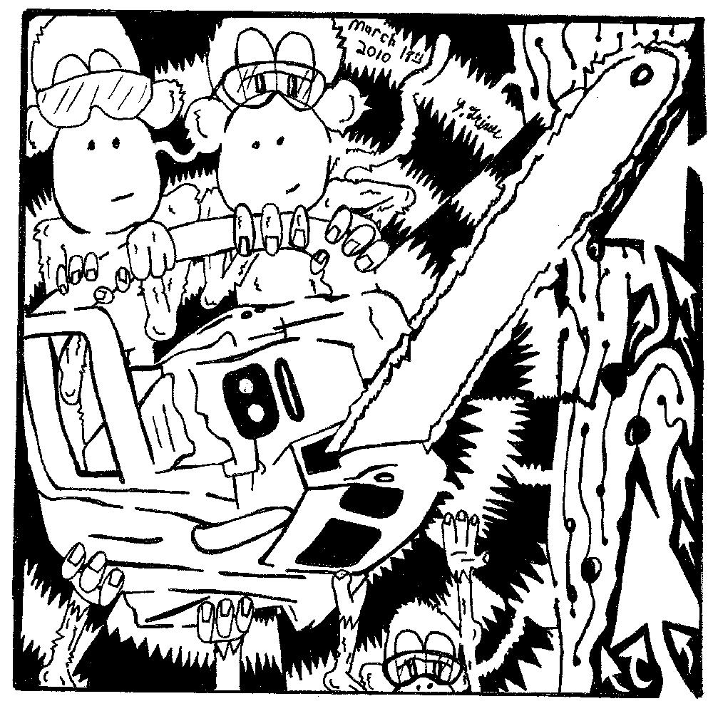 Chainsaw monkeys maze, cutting down a tree