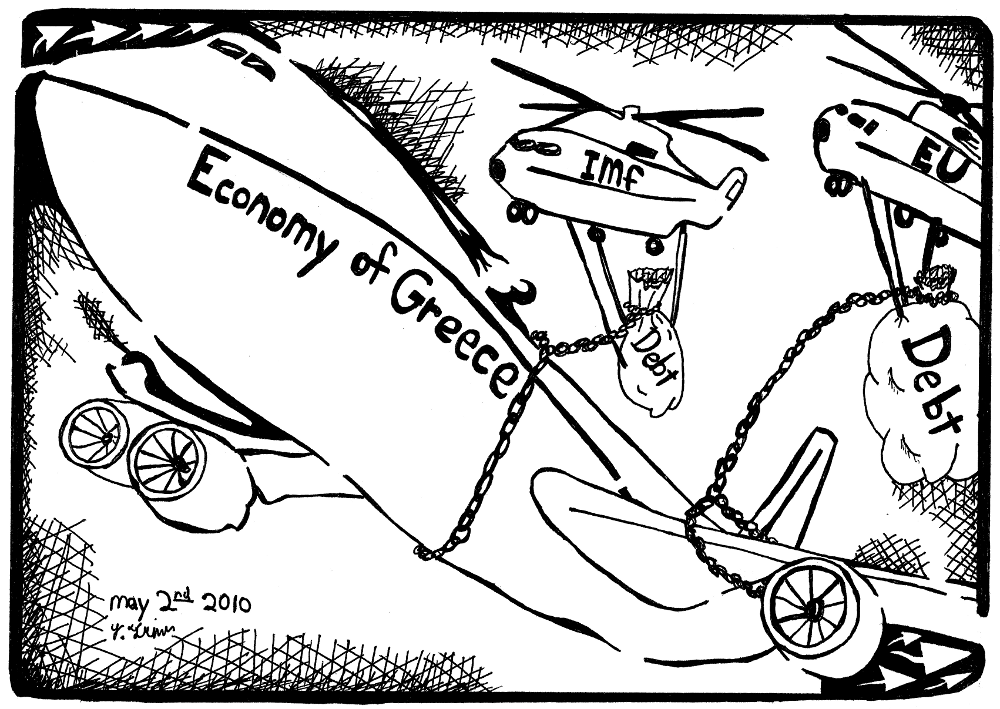 economy of greece maze cartoon