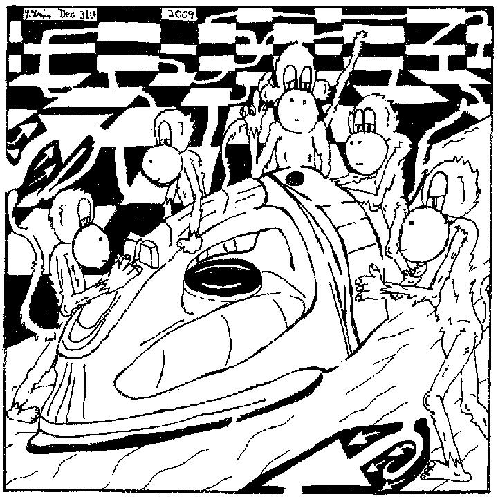 Maze of Team Of Monkeys ironing a shirt