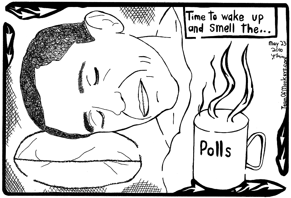 Obama President Polls Coffee Maze Cartoon by Yonatan Frimer