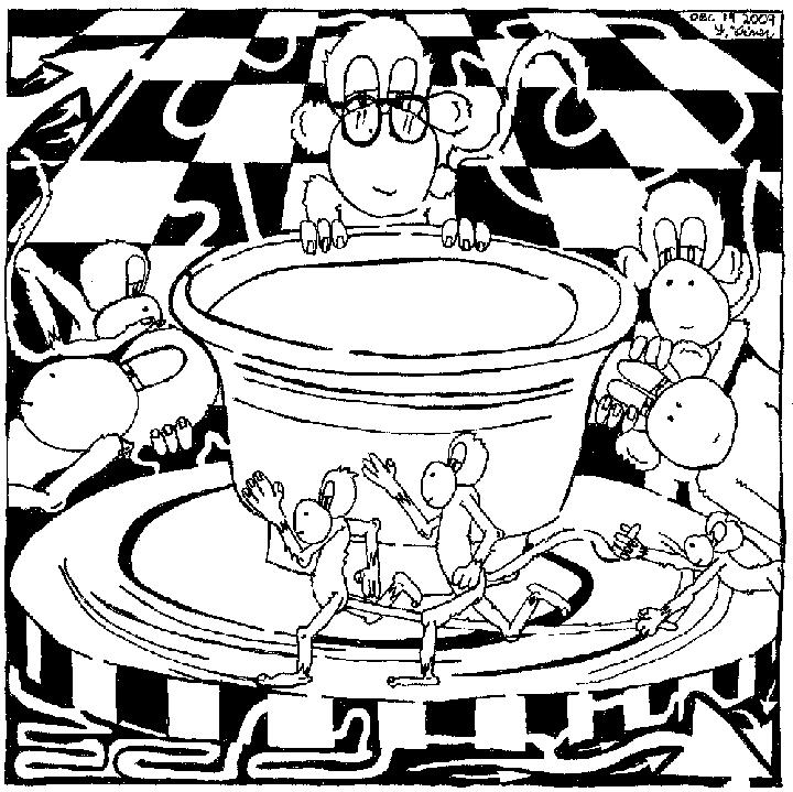 Maze of Team Of Monkeys making pottery