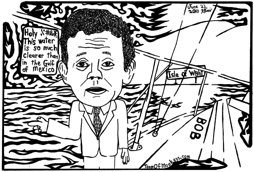 maze cartoon of Tony Hayward sailing bob, his ship