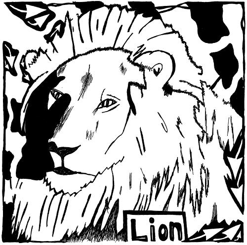 Lion maze of letter L by Yonatan Frimer