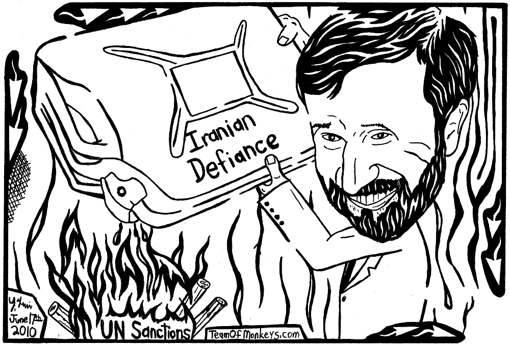 Yonatan Frimer maze cartoon of Mahmoud Ahmadinejad throwing gasoline on the fire of UN Sanctions