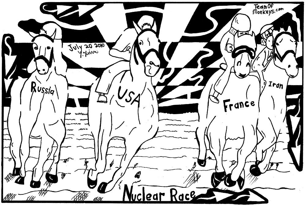 maze cartoon Nuclear Horse Race iran france usa russia, yonatan frimer