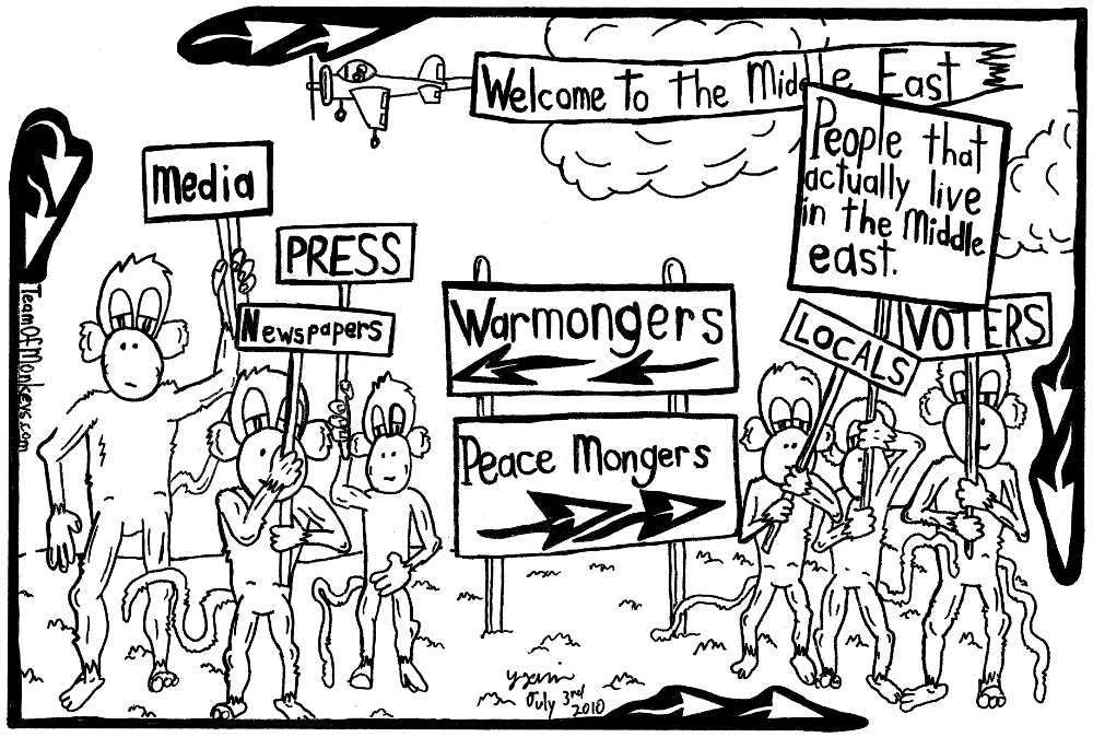 maze cartoon of peace and war mongers