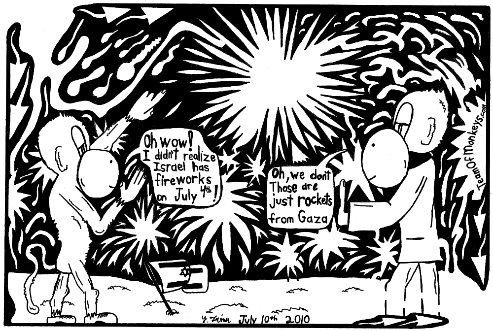 maze cartoon 4th of July Gaza Fireworks