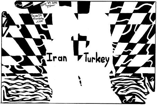 maze cartoon psychedelic kissing couple iran and turkey