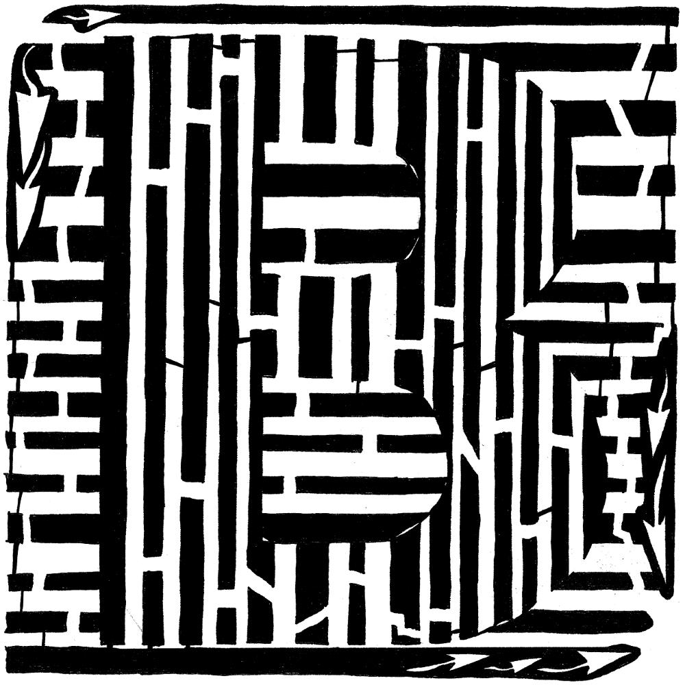 Letter B maze, second letter in the alphabet, upper-case