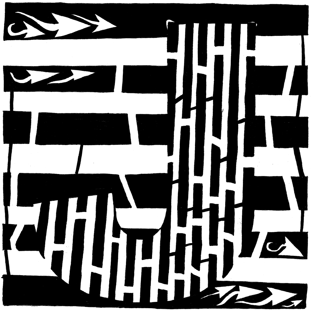 maze of the letter J nineth letter of the english alphabet