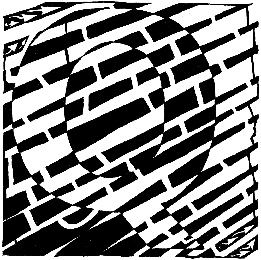 Maze art of the letter Q, by Yonatan Frimer