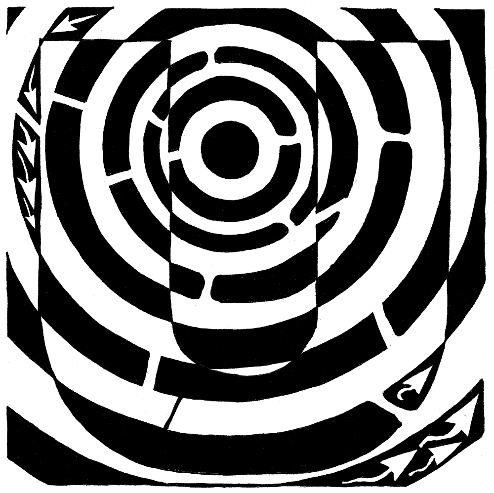 Maze art of the letter U, by Yonatan Frimer