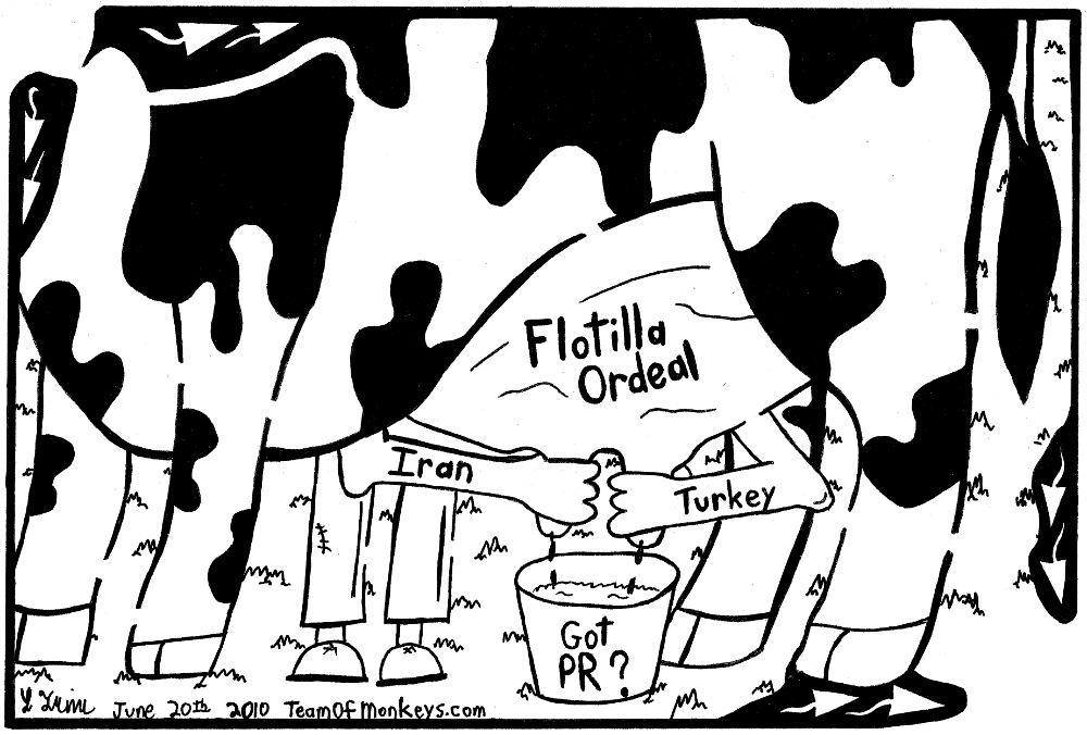 editorial cartoon maze of a flotilla cow being milded by Iran and Turkey