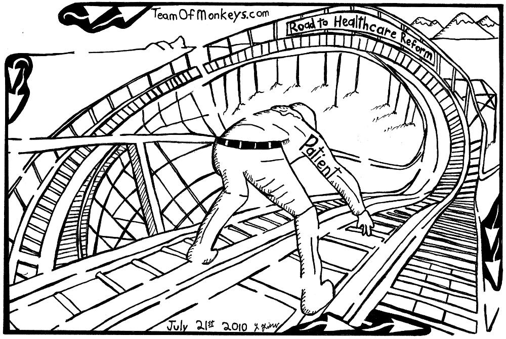 maze cartoon healthcare reform rollercoaster