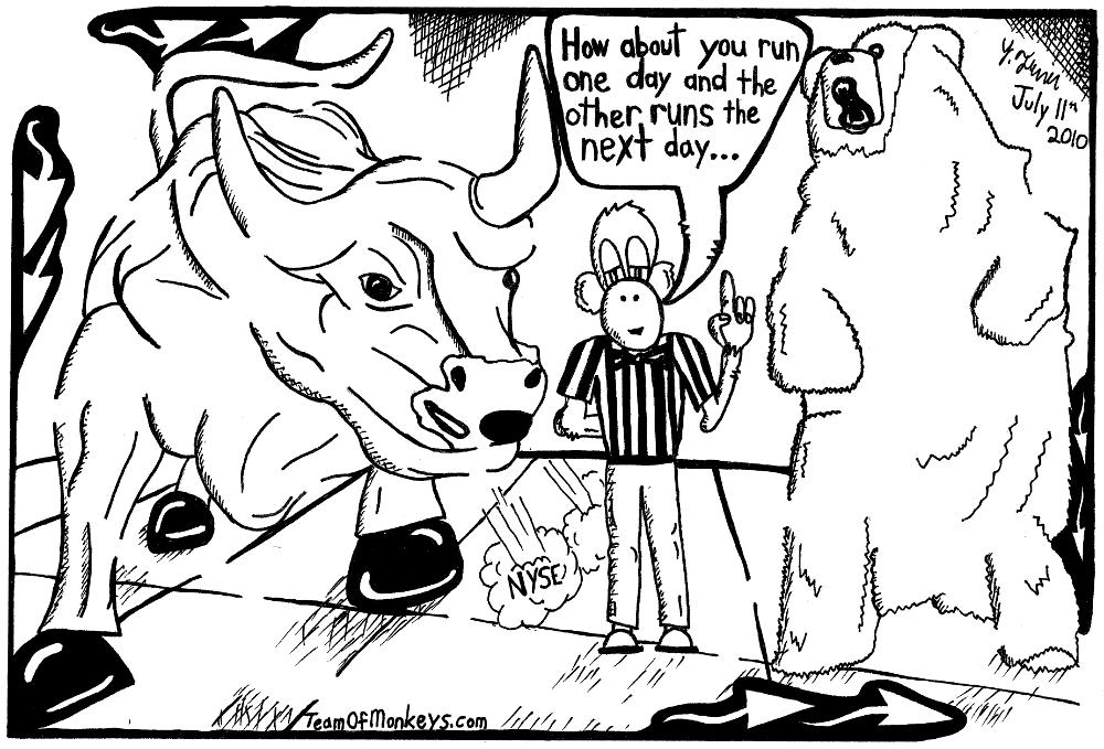 maze cartoon bull and bear by Yonatan Frimer