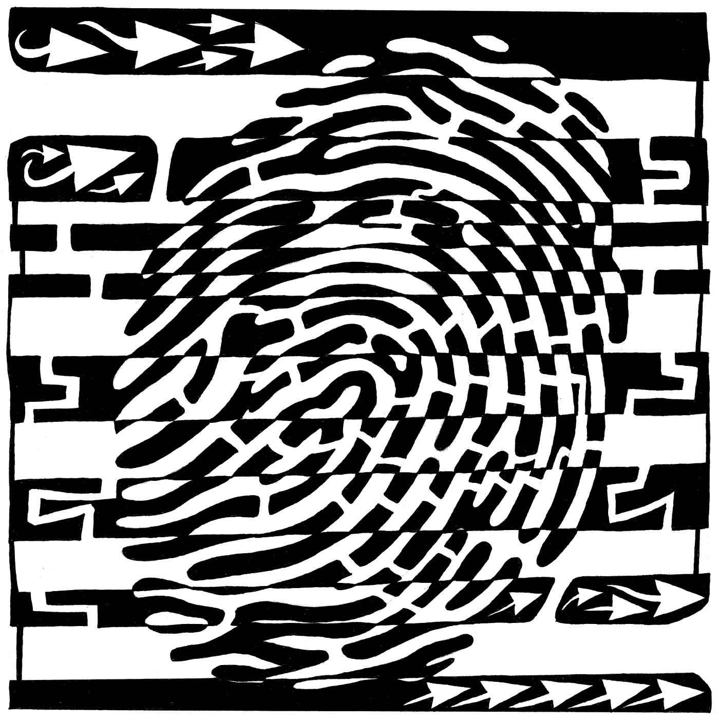 maze of fingerprint being scanned