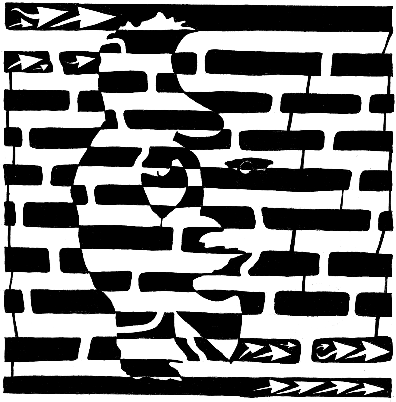 maze of optical illusion with woman and musicians double seen